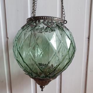 Windlicht Glas Metall Grün Silber zum Hängen mit Kette 15x19x15 cm