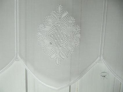 Scheibengardine Weiß bestickt 45 cm H/ Br. ab 1 Meter