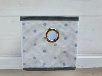 Aufbewahrungsbox Schrankkorb Set 3 Stück Weiß Grau gepunktet 12 x 12 x 12 cm