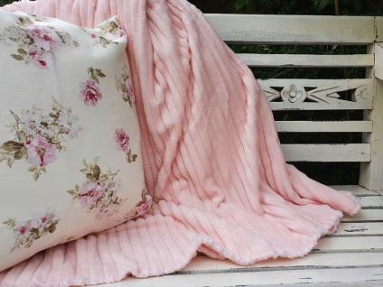 Plaid Sofadecke Fleece Rosa Ripp 180 x 220 cm