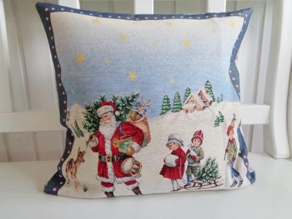 Kissen Weihnachten Blau Nikolausmotiv 45x45 ohne Füllung