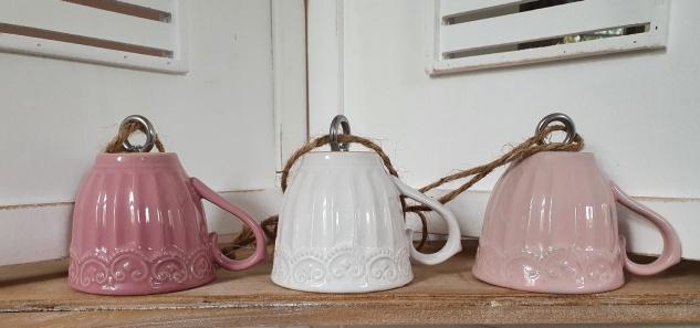 Meisenknödel Aufhängung Tasse Keramik Rosa Hellrosa Weiß 12x8x10 cm