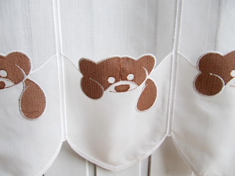 Scheibengardinen Für Kinderzimmer | Scheibengardine Teddybar Creme Braun Stick 45 Cm Hoch Kaufen Bei
