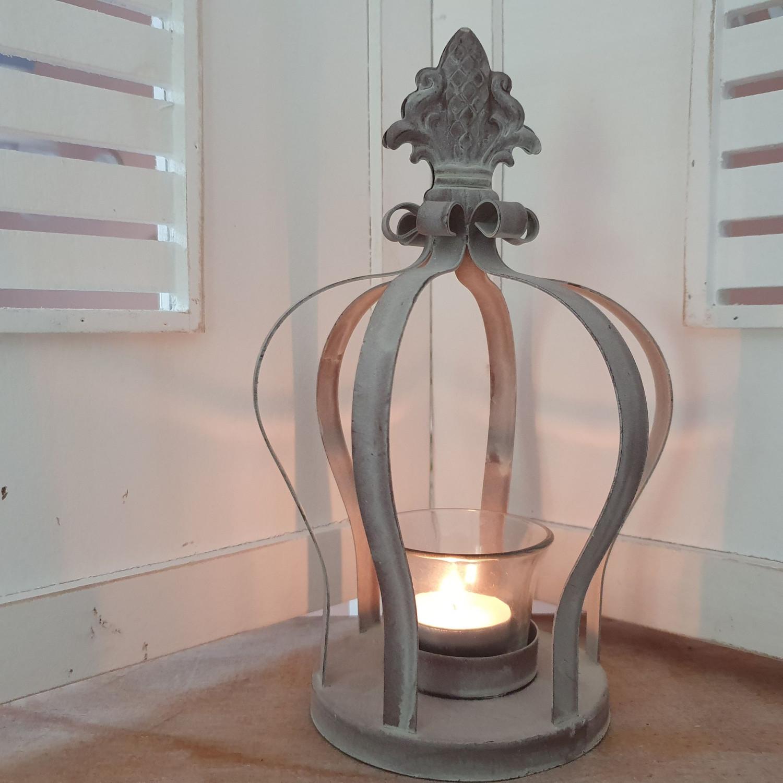 Windlicht Krone Kerzenglas Metall Weiß Ø 16x 16 x 22, 5 cm