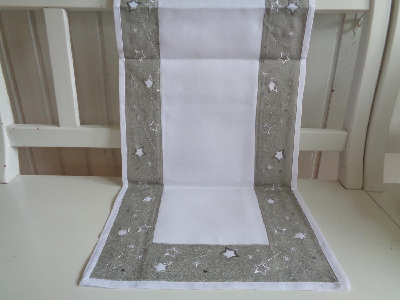 Tischläufer Weihnachten Grau Silber 40x140 Sternchen Stick - Kaufen ...