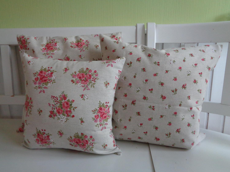 kissen kissenh lle landhaus shabby chic r schen rosen natur rot 40x40 oder 50x50 kaufen bei. Black Bedroom Furniture Sets. Home Design Ideas