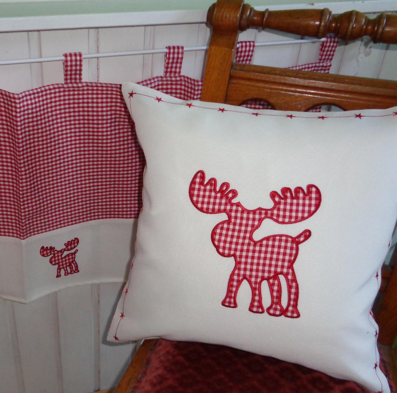 textilserie weihnachten karo rot elch auswahl decke kissen scheibengardine oder tischl ufer. Black Bedroom Furniture Sets. Home Design Ideas