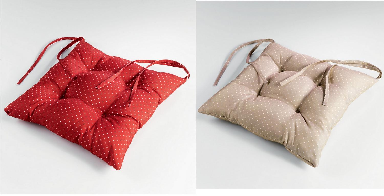 2 er pack stuhlkissen landhaus shabby chic punkte rot oder natur 40x40 kaufen bei frank. Black Bedroom Furniture Sets. Home Design Ideas