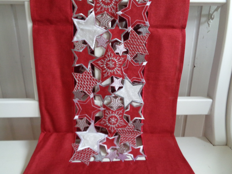 Tischband Tischläufer Stickerei Sterne Weihnachten Tischdeko rot silber Typ479