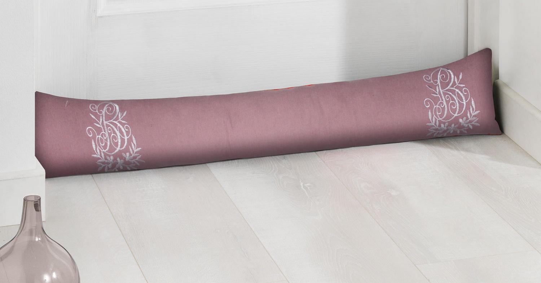 landhaus zugluftstopper turstopper turrolle rosa bestickt 85x12 1