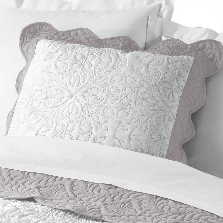 Kissenhülle Weiß Grau Romantik Vintage Gesteppt 45x45 Oder 60x60 Ohne Füllung