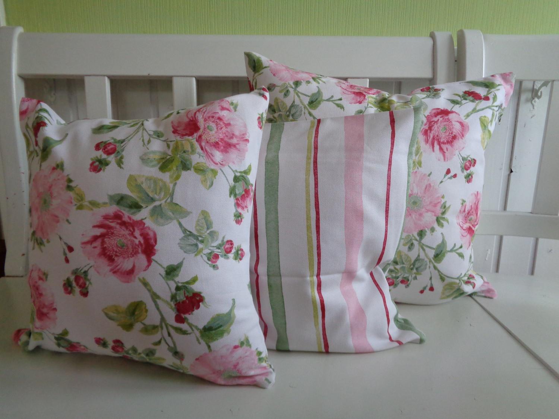kissen kissenh lle landhaus shabby chic streifen creme rosa rot 40x40 oder 50x50 kaufen bei. Black Bedroom Furniture Sets. Home Design Ideas