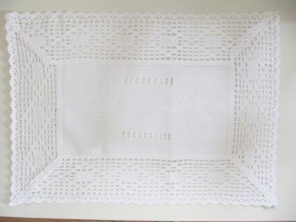 Landhaus Deckchen 2 Stück 35x50 Shabby Chic Weiß Häkelbordüre