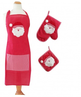 Küchenset Weihnachten Weihnachtsmann 3 teilig Schürze Topflappen Ofenhandschuh
