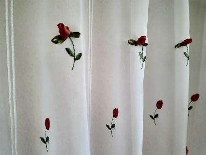 Scheibengardine Rosen Weiß Altrose mit 3 D Applikation Rose 45cm hoch ab 1 Meter
