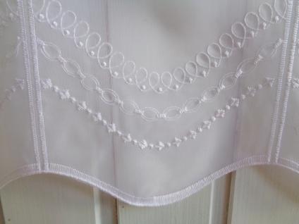 Scheibengardine Weiß Kurbelstickerei 45 cm oder 60 cm Hoch ab 1 Meter