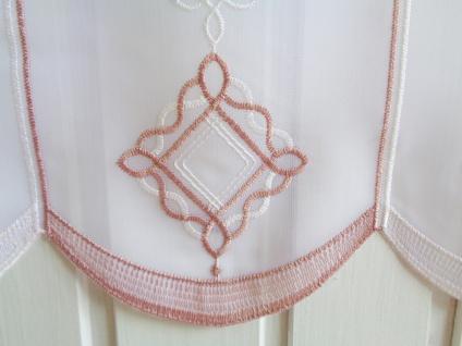 Scheibengardine Weiß Altrosa Stick 45 cm Höhe/ Br. ab 1 Meter