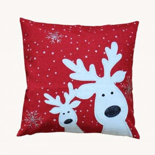 Kissen Kissenhülle Weihnachten Rot Elch 40x40 Ohne Füllung