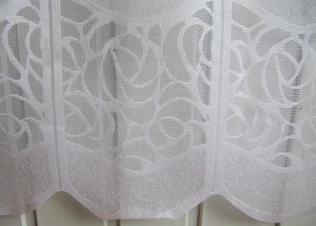 Scheibengardine Weiß durchbrochenes Muster 45 oder 60 cm Höhe