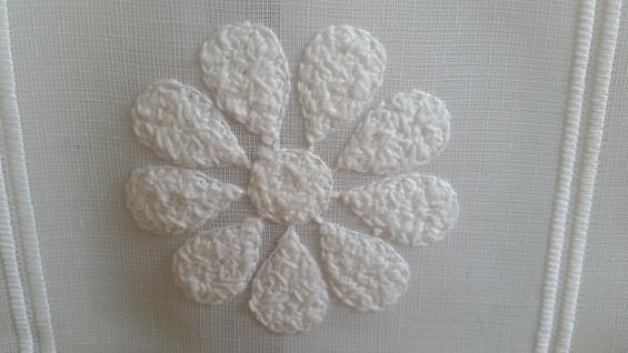 Scheibengardine Creme Stick Blüte 30 cm o. 45 cm Höhe/ Br. ab 1 Meter