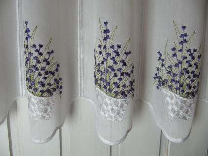 Scheibengardine Weiß Lavendel 45 cm H / Br. ab 1 Meter