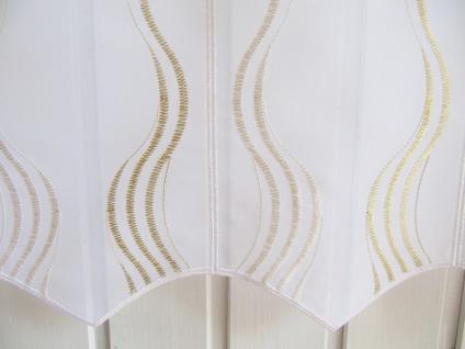 Scheibengardine Weiß Goldgelb oder Weiß Welle zarter Stick 45 cm H / Br. ab 1 Meter