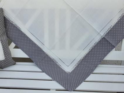 Tischdecke Landhaus Grau Weiß gepunktet mit Hohlsaum 85 x 85 - Vorschau 1