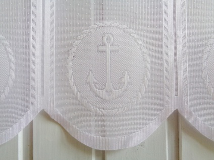 Scheibengardine Weiß Anker Maritim 50 cm hoch ab 1 Meter