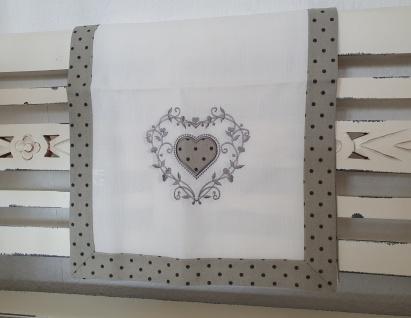 Tischläufer Landhaus Weiß Grau Applikation Stick Punkte Herz 40x140