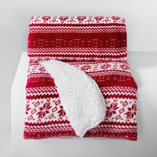 Plaid Sofadecke Kuscheldecke skandinavisch nordischer Stil Rot 125x150