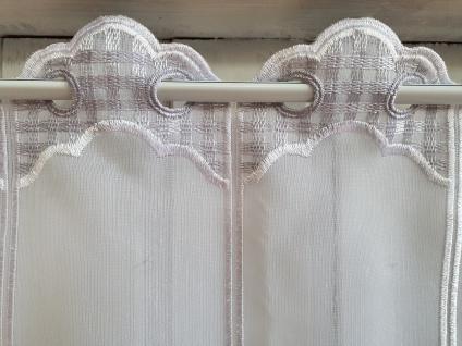 Scheibengardine Landhaus Weiß Grau Kariert 45 cm Hoch ab 1 Meter