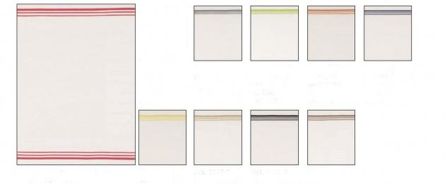 Geschirrtuch Waffelpikee Baumwolle Weiss mit Streifen verschiedene Farben