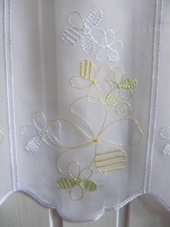 Scheibengardine Weiß Grün Gelb Stick 45cm Höhe/ Br. ab 1 Meter