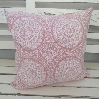 Kissen Landhaus Rosa Ornamente Baumwolle 40x40 gefüllt
