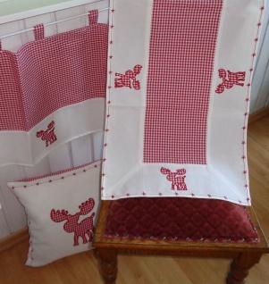 Textilserie Weihnachten Karo Rot Elch Auswahl Decke, Kissen Scheibengardine oder Tischläufer