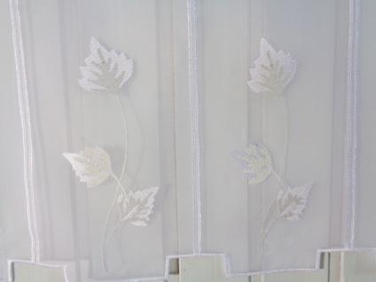 Scheibengardine Stick mit Blättern weiß creme 45 oder 60 cmHoch ab 1 Meter