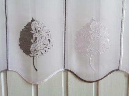 Scheibengardine Weiß Grau hochwertige Stickerei 45 cm Hoch ab 1 Meter