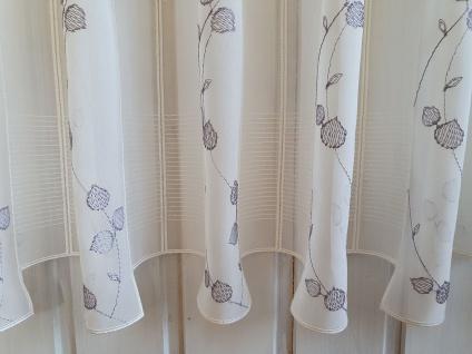 Scheibengardine Creme grau Stick Blätter 45 cm Hoch ab 1 Meter