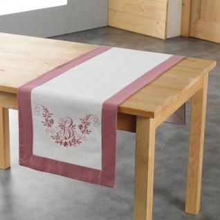Tischläufer Landhaus Rosa Shabby Chic mit Stickung 40x140 cm