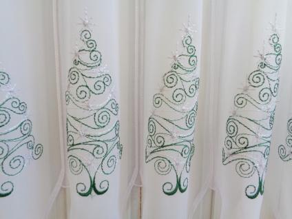 Scheibengardine Weihnachten Weiß Grün Silber Tannenbaum 45cm Hoch ab 1 Meter