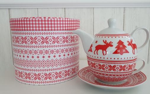 Teekanne Weihnachten Elch Rot Set mit Tasse Teeservice 3 teilig Tee for one