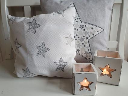Kissen Weihnachten Landhaus Sterne Creme Grau 40x40 cm o. Füllung