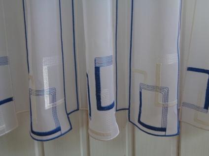 Scheibengardine Weiß Blau Grafisches Muster 30 cm o. 60 cm Höhe/ Br. ab 1 Meter - Vorschau 2