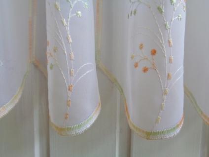Scheibengardine Weiß Orange Grün Stickerei 45cm hoch ab 1 Meter