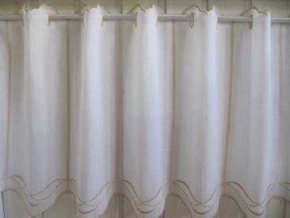 Scheibengardine Weiß, weiß matt oder Sekt Welle zarter Stick 45 cm H / Br. ab 1 Meter - Vorschau 3