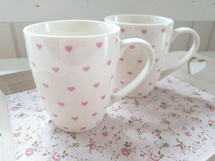 Tassen Set 2 Teebecher Kaffeebecher Hezchen Rosa Porzellan 10 cm