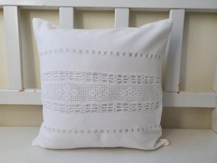 Kissen Weiß Leinen mit Baumwolle Häkel Shabby Chic 40x40 ungefüllt