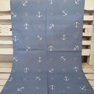 Tischläufer Maritim Anker hellblau 50x150