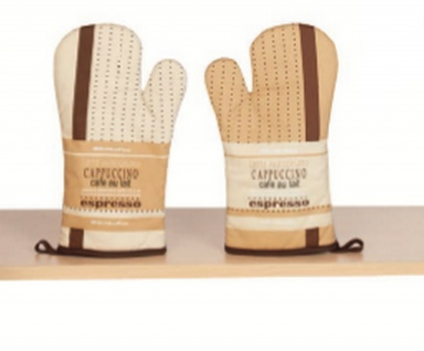 Ofenhandschuh Kaffeemotiv Braun mit Teflonbeschichtung Rechte oder Linke Hand 18x30