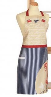 Schürze Kochschürze Maritim Nautica Blau Rot Weiß 80x85